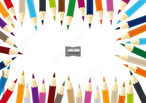 Fototapeta Vector color pencils scattered forming a frame with sharpener obraz na płótnie