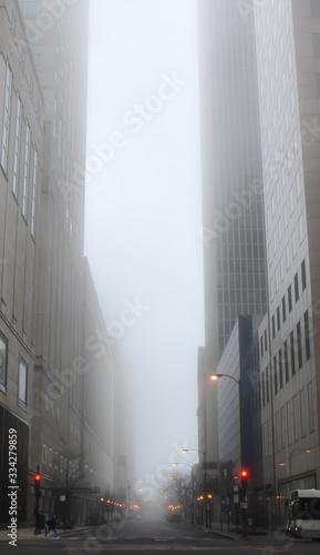 Big city buildings on a foggy morning