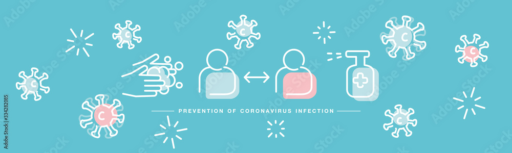 Fototapeta Prevention of Corona virus Covid 19 infection handwritten white line design info graphic sea green isolated background banner