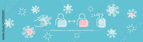 Obraz Prevention of Corona virus Covid 19 infection handwritten white line design info graphic sea green isolated background banner - fototapety do salonu