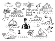 Collection Of Isolated Black Outline Doodle Marine Transport With Waves, Lighthouse, Seagull, Whale And Sailor Man. Set Of Cute Hand Drawn Sea Objects For Emblem Design, Coloring Books And Apps, Logo