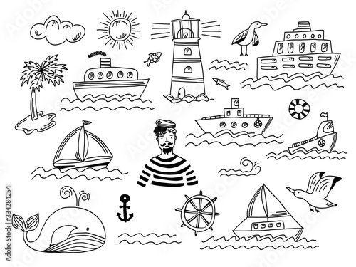Fototapeta Collection of isolated black outline doodle marine transport with waves, lighthouse, seagull, whale and sailor man. Set of cute hand drawn sea objects for emblem design, coloring books and apps, logo obraz