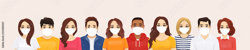 Fototapeta Group of people wearing protective medical mask as protection against transmissible infectious diseases, flu and air pollution vector illustration