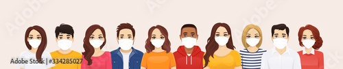 Fotografiet Group of people wearing protective medical mask as protection against transmissi