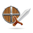 Vector cartoon illustration of a wood and metal medieval shield with a steel one-handed sword isolated on a white background. Can represent the Middle Ages, Ancient times, sword and sorcery fantasy an