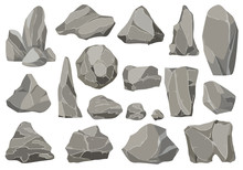 Rocks And Stones Single Or Piled For Damage And Rubble. Large And Small Stones. Set Of Flat Design Icons. Vector Illustration For Game Art Architecture Design