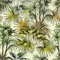Fototapeta Egzotyczne Green tropical pattern with palm foliage.