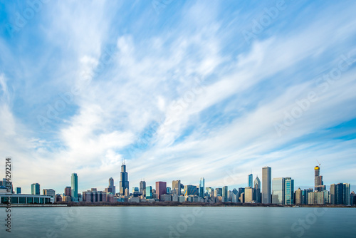 Chicago Skyline Cityscape with lake in front and  blue sky with cloud, Chicago, United state.