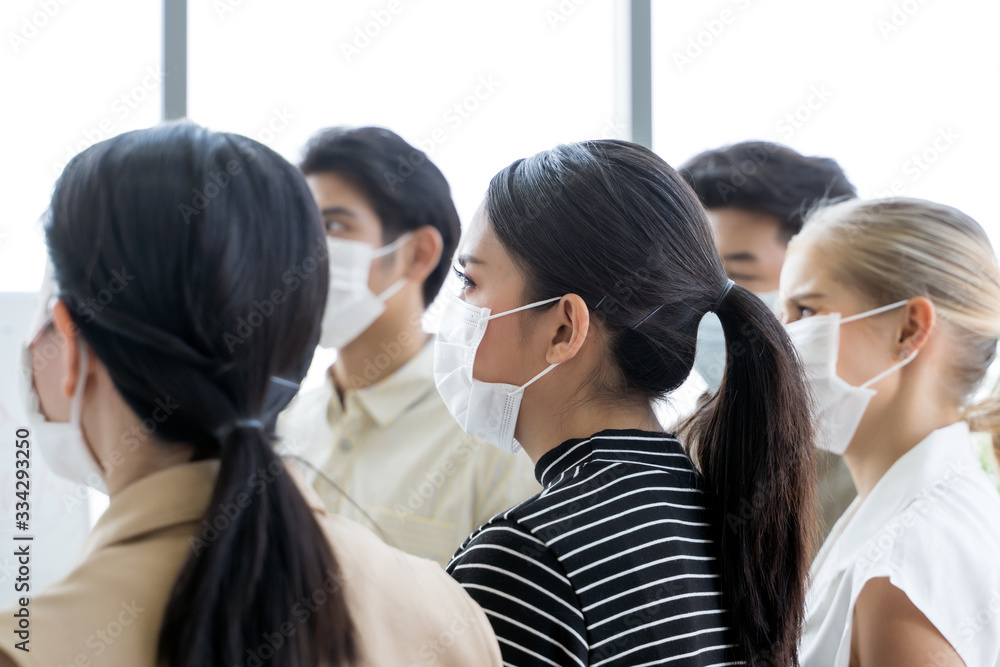 Fototapeta Group of asian business people meeting and working in office and wear mask for protect  prevent infection corona virus covid 19.