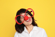 Funny Woman With Clown Nose An...
