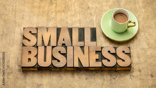 Fotografie, Obraz small business word abstract in wood type