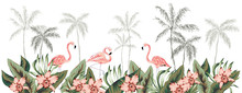 Tropical Border With Flamingo Birds. Palm Tree Silhouettes, Green Leaves, Pink Orchid Flowers, White Background.   Vector Illustration. Floral Arrangement. Banner Design. Paradise Nature