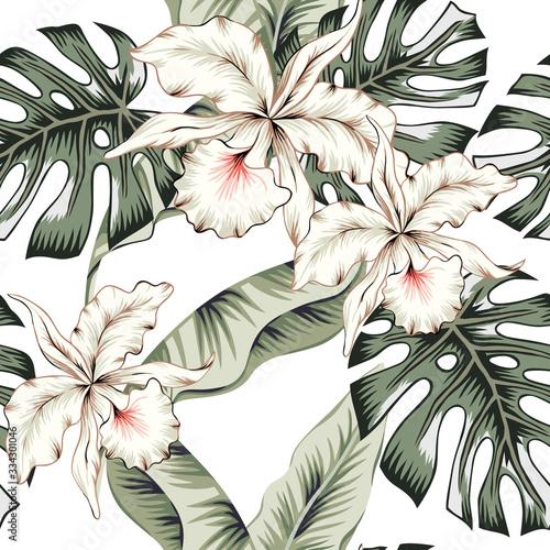 tropikalne-biale-kwiaty-orchidei-zielony-monstera-liscie-palm-bananowych-biale-tlo-wektor-wzor-ilustracja-lisci-dzungli-rosliny-egzotyczne-kwiatowy-wzor-letniej-plazy-rajska-przyroda