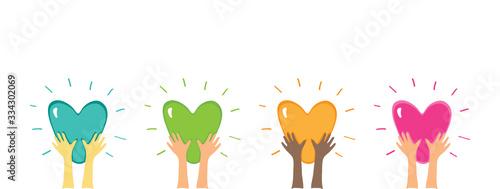 Shiny Heart in Hands Wallpaper Mural