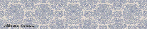 Photo Seamless ornate medallion border pattern in french cream linen shabby chic style