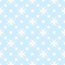 Subtle Minimal Floral Pattern In Blue And White Colors. Delicate Abstract Geometric Texture With Small Flowers, Crosses, Squares. Simple Repeat Background. Design For Boys And Girls, Babies, Decor