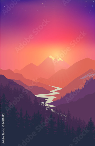 Fototapety, obrazy: Mountain landscape Nature camping graphics, outdoor traveling illustration