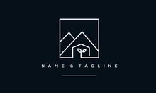 A Line Art Icon Logo Of A Moun...