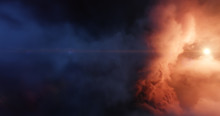 Central Stars Carved Out A Cavernous Bowl-like Cavity In The Wall Of A Giant Cloud Nebula, Ultraviolet Radiation And Stellar Winds. Stellar System And Gas Nebula. 3D Render