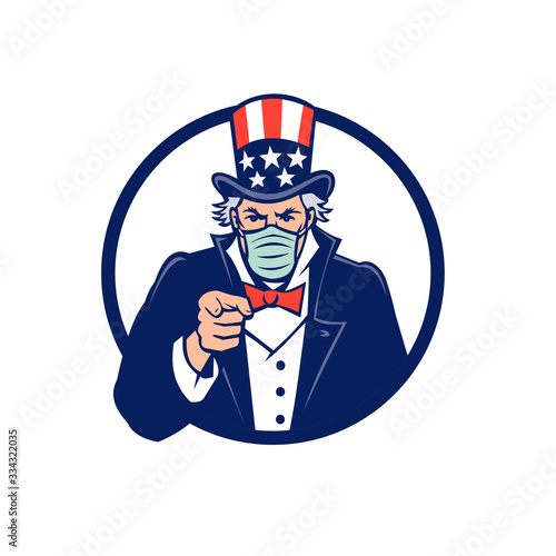 Cuadros en Lienzo Mascot icon illustration of American Uncle Sam, national personification of the U