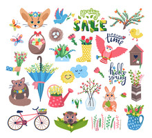 Cute Spring Set Vector Illustration. Cartoon Flat Blooming Flowers, Happy Animal Or Bird Characters In Birdhouse, Floral Decorations, Butterfly. Springtime Easter Cuteness Set Icons Isolated On White