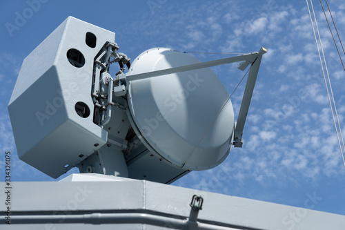 Fire control radar onboard modern navy warship Canvas Print
