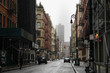 Empty New York City streets without people and closed shops during pandemic coronavirus outbreak in America.