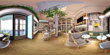 3d Render Of Cafe Restaurant, 360 Degrees View Interior