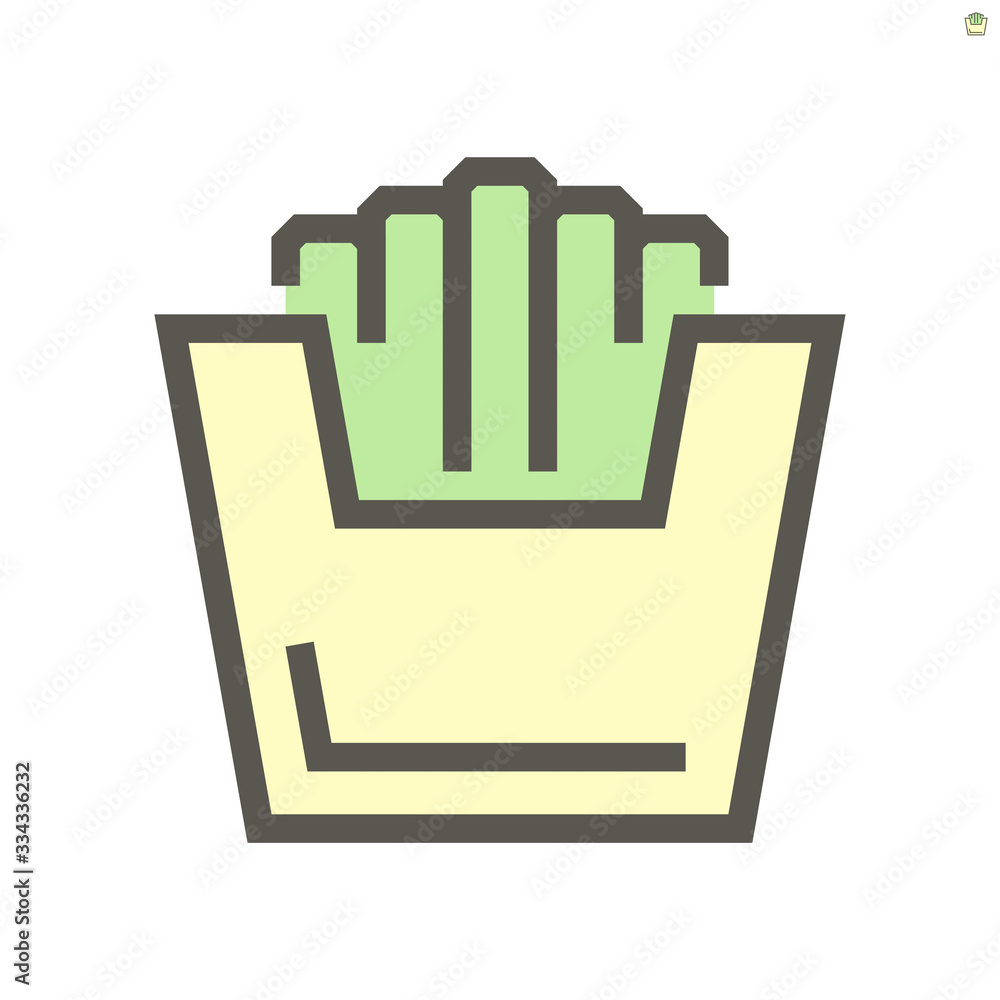 French fries vector icon design for food graphic design element work., 48X48 pixel perfect and editable stroke.