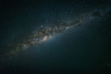 A night time photo of the Milky Way galaxy against a dark starry sky in the southern hemisphere of Australia