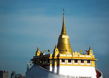 Golden Mountain (phu Khao Tong) Bangkok Thailand The Pagoda On The Hill In Wat Saket Temple.The Temple Wat Sa Ket Is An Ancient Temple In The Ayutthaya Period.