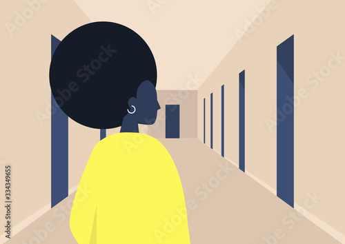 Photographie Young black female character standing in a corridor, empty building hall with do