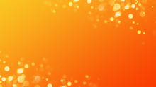 Abstract Orange Background With Bokeh Lights And Sunlight, Panoramic Background With Copy Space