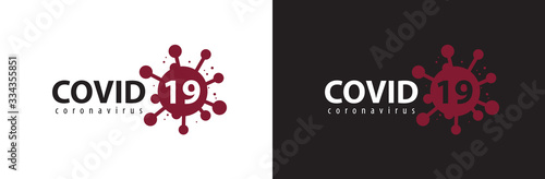 Obraz Covid-19 Coronavirus concept inscription typography design logo. - fototapety do salonu
