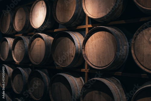wine barrels in cellar Canvas Print