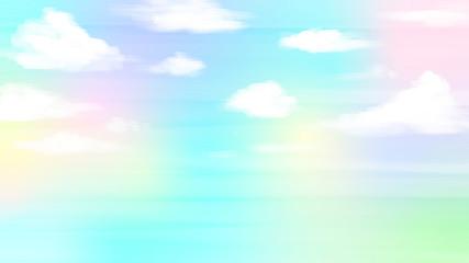 ファンシーな虹色の青空背景イラスト