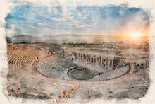 The Ancient Theater Of The Roman City Of Hierapolis In Pamukkale, Turkey. The Site Is A UNESCO World Heritage Site Near The City Of Denizli. Watercolor Style Illustration