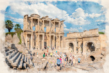 Library Of Celsus And Sculpture In The Ancient City Of Ephesus, Selcuk Izmir, Turkey In Watercolor Illustration Style. Ancient Roman Building On The Coast Of Ionia In Honour Of Tiberius. Efes