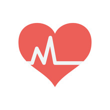 Cardio Heart Icon, Flat Style