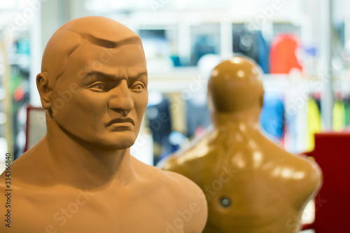 Photo dummy for boxing and practicing blows in martial arts, karate