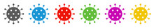 Coronavirus Icon In Grau, Blau...