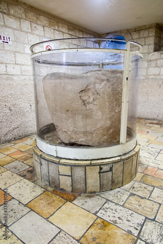 Stampa su Tela An example of a stone stave in the church in Cana of Galilee in Israel in the Ho