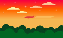 Orange And Beige Landscape Of The Dawn / Sunset Sky With Clouds And Stars, Forest Of Green Trees And The Silhouette Of A Flying Plane With A Two Lane Contrail. Card. Vector Graphics, Illustration