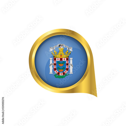 Flag of Melilla, location map pin, pointer flag Melilla, button gold, Icon country . Vector Illustration EPS10.