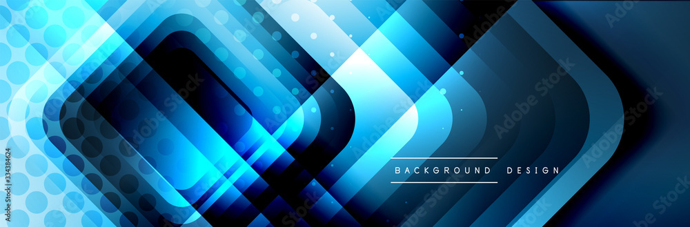 Fototapeta Round squares shapes composition geometric abstract background. Vector Illustration