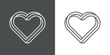 Icono Lineal Corazón Tridimensional En Perspectiva Imposible En Fondo Gris Y Fondo Blanco