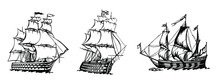 Sailing Ship Vintage Frigate. ...