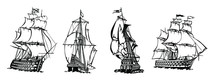 Set Of Silhouette Of Vintage Sailboat With White Background. Hand Drawn Vector Illustration.
