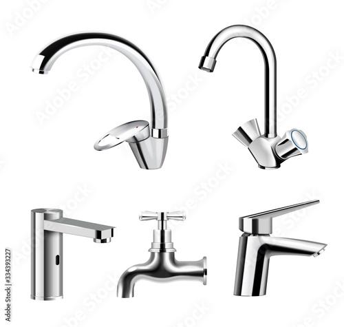 Fotografie, Obraz Water Faucet Realistic Set