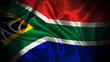 canvas print picture - Close up waving flag of South Africa. National South Africa flag.